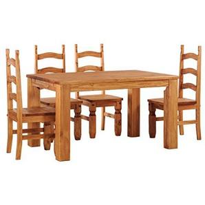 Brasilmoebel® Essgruppe Esstisch Rio Classico 140 x 90 cm + 4 x Stuhl Rio Mexiko Brasilmöbel Honig Pinie - Massivholz mit 33 mm durchgehend massiven Platten - aus nachhaltiger Forstwirtschaft - Esszimmertisch massiv geölt - Wohnzimmer Esszimmer Küche