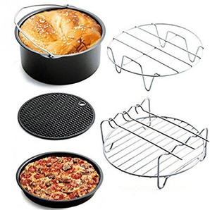 Universal Heißluftfritteuse Set, HUI.HUI 5 Stücke heißluftfritteuse zubehör-Passen 3L und oben - Backform, Pizza Pan, Grillrost mit 3 Spießen, Metall Halter, Silikonmatte (A)