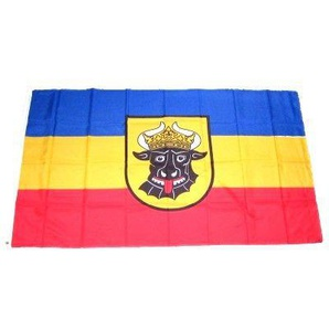 Flaggenking 17078, Mecklenburg Ochsenkopf Flagge/Fahne - wetterfest, mehrfarbig, 150 x 90 x 1 cm