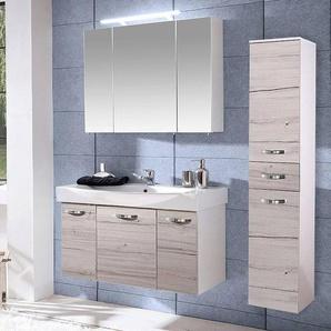 Badezimmermöbel Waschplatz Set TRIEST-04 Kalkeiche, weiß Glanz, 100cm Waschtisch & Spiegelschrank, Hochschrank