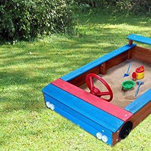 Coemo Sandkasten Auto-Form aus Holz Holzsandkasten Lenkrad Rot Blau