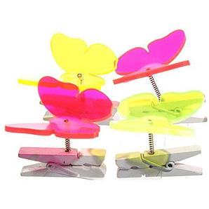 Lichtfänger 4er Set Schmetterling bunt Dekoklammer Sonnenfänger