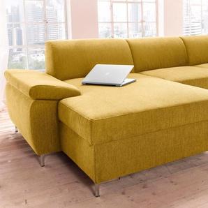 Domo Collection Sitzecke, Recamiere links, gelb, B/H/T: 302x46x60cm, hoher Sitzkomfort