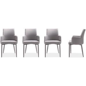 4 Esszimmerstühle mit bezogenem Gestell in grau, Maße: B/H/T ca. 50/90/50 cm
