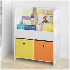 SoBuy Kinder Bücherregal Kinderregal mit 3 Ablagefächern u. 2 Stoffboxen KMB27-W