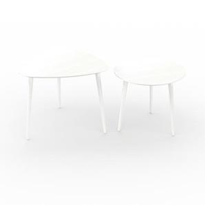 Couchtisch Weiß - Eleganter Sofatisch: Beste Qualität, einzigartiges Design - 59/50 x 50/44 x 61/50 cm, Konfigurator
