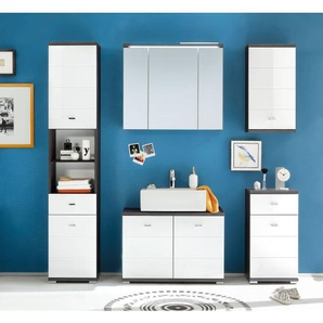 Hochschrank Weiß Nachbildung/Betonoptik ca. 38 x 190 x 30 cm