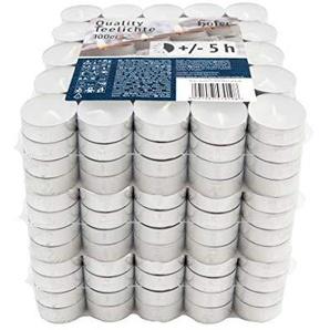 Hofer Kerzen Teelichter tealight ohne duft, in Metallhülsen, bis zu 5h Brenndauer, Durchmesser 38 mm, weiß - Pack a 300 Stück Set (300-er Karton)