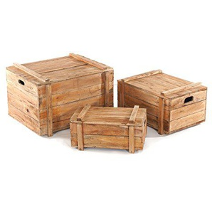 DESIGN DELIGHTS 3ER TRUHENSET Yoya | 60x50x40 cm, Recycling Holz, mit Deckel | Kisten Set