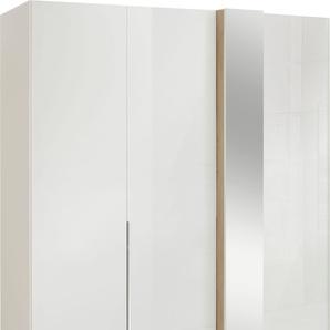Drehtürenschrank in Weißglas mit Dekorfront und Spiegel, Breite 175 cm, »fontana«, FSC®-zertifiziert, set one by Musterring