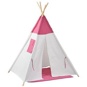 [en.casa]® Kinderzelt - Rosa/Weiß - 150 x 120 x 120 cm - Spielzelt Babyzelt Spielhaus Tipi Indianer Wigwam