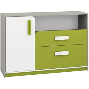 Kinderzimmer - Kommode Renton 09, Farbe: Platingrau / Weiß / Grün - Abmessungen: 94 x 138 x 40 cm (H x B x T), mit 1 Tür, 2 Schubladen und 4 Fächern