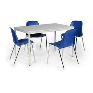 Protaurus Tisch-Stuhl-Kombination | Tisch + 4 Stapelstühle | Blau - CERTEO