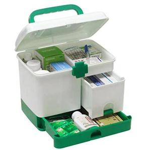 Rolanli Medizinbox Abschließbar mit Getrennten Fächer Medikamentenbox Aufbewahrungsbox mit Griff für Küche Schlafzimmer - Grün