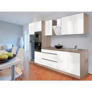 Respekta Premium Küchenzeile Grifflos 335 cm Weiß Hochglanz-Eiche Sägerau