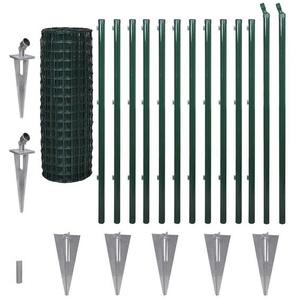 Maschendrahtzaun Set Wildzaun Gartenzaun PVC-beschichtet GRÜN 0,8m x 10m - TOP MULTISHOP