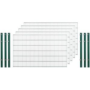 Doppelstabmattenzaun , 5 Stk., LxH: 10x1,2 m, grün
