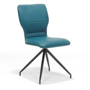 4 Stühle in Petrol Kunstleder (4er Set)