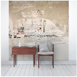 Bilderwelten Beton Vliestapete Quadrat »Alte Betonwand mit Bertolt Brecht Versen«