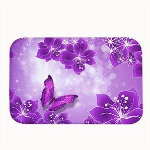 Rioengnakg Vivid Lila Blumen und Schmetterling Teppich Eintrag Wege Outdoor Rutschfeste Fußmatte, Korallenvlies, 20 x 32(50 x 80cm)