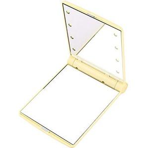 Bmstjk Kosmetikspiegel, Kosmetikspiegel mit 8 LED-Klappspiegel, klappbarer tragbarer Schminkspiegel, lokales Gold