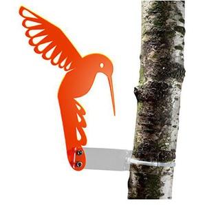 """Sonnenfänger """"Kolibri"""" aus transparentem Plexiglas (Orange), fluoreszierend - leuchtende Kanten auch in den Abendstunden, 20 cm Höhe, incl. Montagematerial, Frost- und Witterungsbeständig – das Original (Orange)"""
