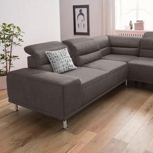 sit&more Ecksofa, mit Federkern und Ottomane, inklusive Sitztiefenverstellung, braun, Luxus-Microfaser