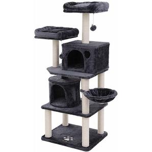FEANDREA Stabiler Kratzbaum 140cm mit Sisal-Kratzstangen, Plüsch-Sitzmulden, Einem Korb und 2 Häuschen, Kletterbaum für Katzen, Rauchgrau, by SONGMICS, PCT90G