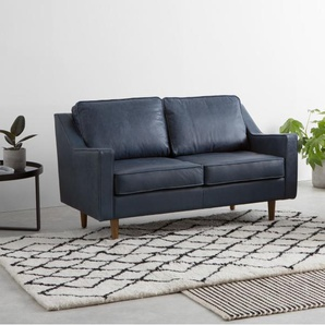 Dallas 2-Sitzer Sofa, Premium-Leder in Mitternachtsblau