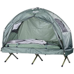 Semptec Urban Survival Technology Feldbett Zelte: 4in1-Zelt inklusive Schlafsack, Matratze & Campingliege, wasserdicht (Zelt- Liege Kombination)