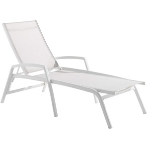 Sieger Bodega Stapelliege rollbar Aluminium/Textilene Weiß/Weiß