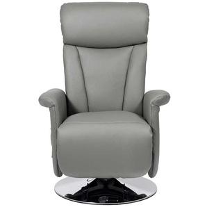 Leder Relaxsessel in Grau drehbar