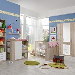 Babyzimmer Nicki komplett Sets verschiedene Ausführungen (Babyzimmer Nicki 7tlg. 3türiger Schrank, Eiche Sägerau/Weiß)