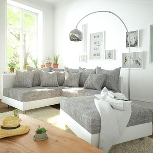 Ecksofa Clovis Weiss Hellgrau Modulsofa Hocker Ottomane Links, Design Ecksofas, Couch Loft, Modulsofa, modular