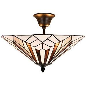 Lumilamp 5LL-5896 Tiffany Deckenlampe Ø 40x28 cm in Landhausstil Vintage Deco
