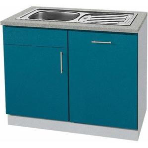 wiho Küchen Spülenschrank »Kiel« 110 cm breit, inkl. Tür/Griff/Sockel für Geschirrspüler, blau