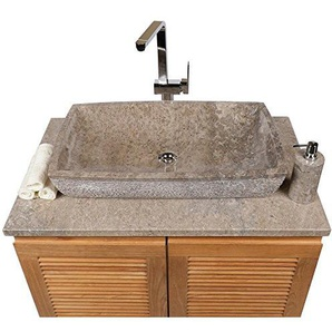 wohnfreuden Marmor Waschbecken MARA 70 x 40 cm ? groß eckig grau ? Naturstein Waschplatz Handwaschbecken Steinwaschschale Naturstein-Aufsatzwaschbecken für Ihr Bad ? inkl. techn. Zeichnung ? schnell