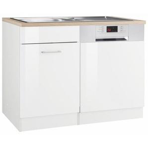 HELD MÖBEL Spülenschrank »Utah« Breite 110 cm, mit Tür/Sockel für Geschirrspüler, weiß