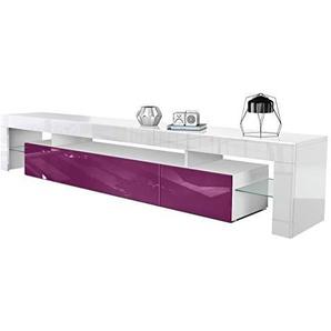 Vladon TV Schrank Lowboard Fernsehschrank Fernsehtisch Wohnzimmer Lima V2 in Weiß/Brombeer Hochglanz