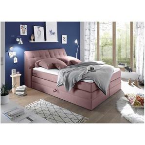 JUSTyou Bismarck I Boxspringbett Continentalbett Amerikanisches Bett Doppelbett Ehebett Gästebett 180x200 Rosa