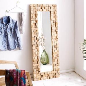 Wandspiegel Padma 160x60 Teak Natur handgefertigt Unikat, Spiegel