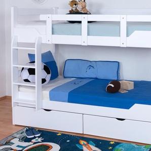Etagenbett / Stockbett Easy Premium Line K12/n inkl. 2 Schubladen und 2 Abdeckblenden, Kopf- und Fußteil gerade, Buche Vollholz massiv Weiß - Maße: 90 x 200 cm, teilbar