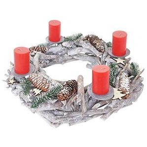 Mendler Adventskranz XXL rund, Weihnachtsdeko Tischkranz, Holz Ø 48cm weiß-grau ~ mit Kerzen, rot