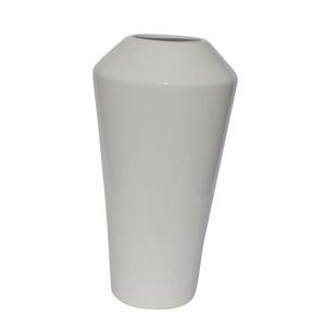 Keramik Vase mit umlaufender Kante H 35 /Ø 19 WHITE EDGE Weiß glänzend
