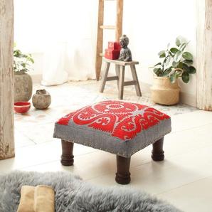 Home affaire Hocker »Javed« aus schönem Baumwollstoff und edlen Stickereien, Höhe 23 cm