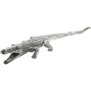 Deko Figur Krokodil Silber Big