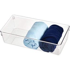 iDesign Linus Schubladenbox für Schrank oder Schminktisch, 30,5 cm x 15,2 cm x 7,6 cm Aufbewahrungsbox aus Kunststoff, durchsichtig
