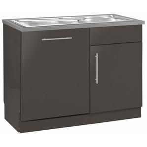 wiho Küchen Spülenschrank »Cali« 110 cm breit, inkl. Tür/Sockel für Geschirrspüler, grau