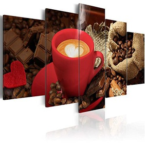 murando - Akustikbild Küche Kaffee 200x100 cm - Wandbilder - Schallschutz - Vlies Leinwand - Akustikdämmung - 5 Teilig - Wandbilder XXL - Schallschlucker - Wandbild - leise - 030107-13