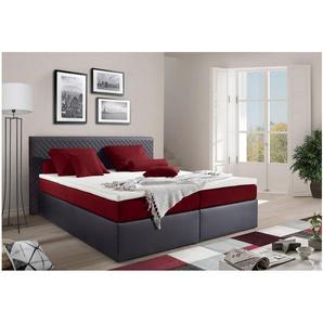JUSTyou Frankfort Boxspringbett Continentalbett Amerikanisches Bett Doppelbett Ehebett Gästebett 180x200 Schwarz Rot